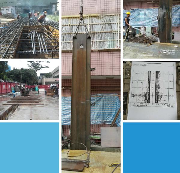 連續壁接頭止水樁施工、連續壁接頭清洗-1、連續壁接頭清洗-2.、連續壁鋼箱施工、連續壁璧體超音波檢測