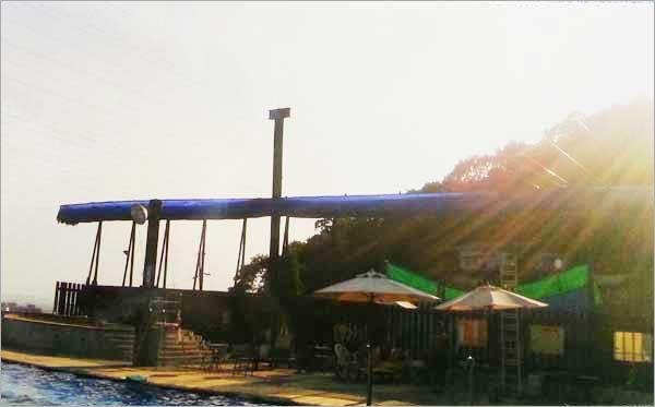 游泳池活動遮陰網收回