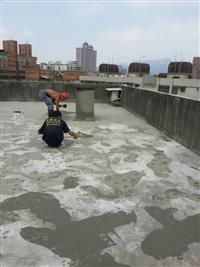 屋頂防水施工中