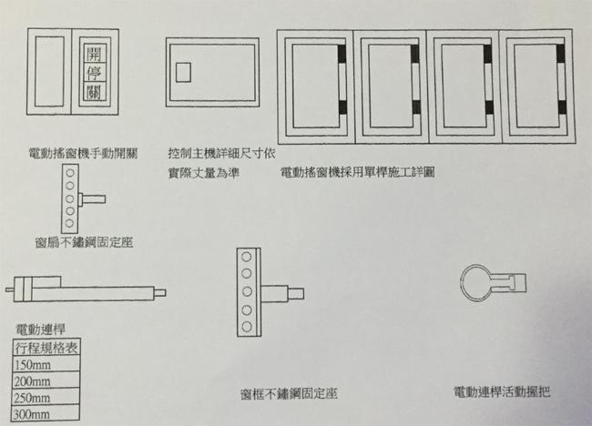 電動搖窗機使用單桿施工詳圖