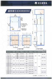 鋼索牽引式客貨電梯規格表