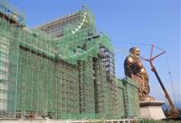 大尊貴三灣彌勒佛鋼管-外牆鷹架搭建