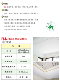 日本SK0.8特級矽酸鈣板