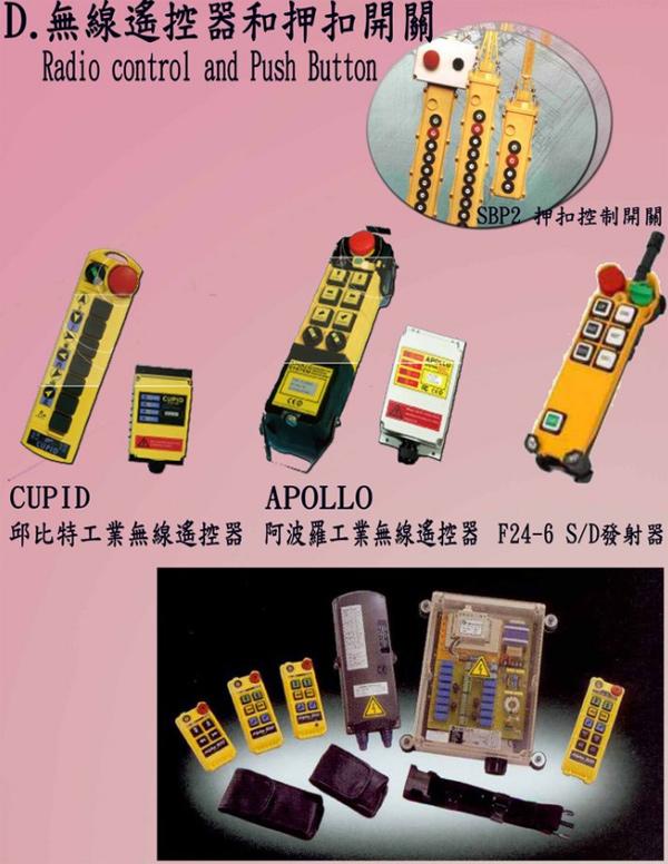 CUPID邱比特工業用無線遙控器、ALPHA無線遙控器、押扣控制開關