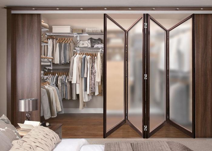 更衣室鋁框玻璃摺疊門