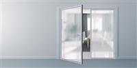 客廳鋁框水平把手玻璃門