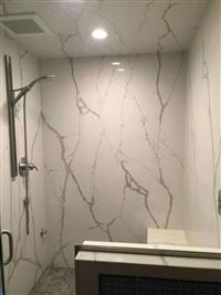 石英石浴室牆面~雕刻白
