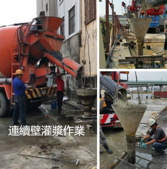中間樁水刀式施工、中間樁施工、安全支撐覆工板施工