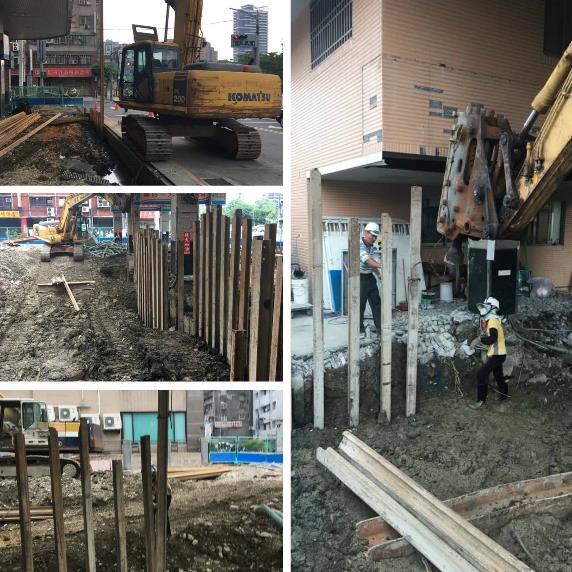 鋼軌樁打拔、鋼軌樁襯板施工、鋼軌樁止水施工、鋼軌樁壓樑施工