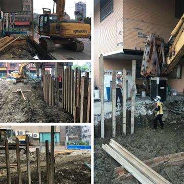 預壘樁-壓樑施工2、預壘樁-壓樑灌漿完成、預壘樁-灌漿完成、預壘樁-鑽掘
