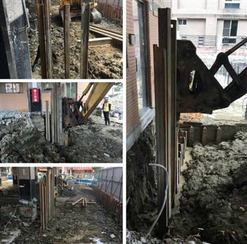 鋼板樁施工1、鋼板樁施工2、鋼板樁施工3、鋼板樁施工4