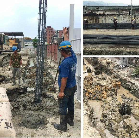 中間樁打設、中間樁引孔施工、安全支撐型鋼架設