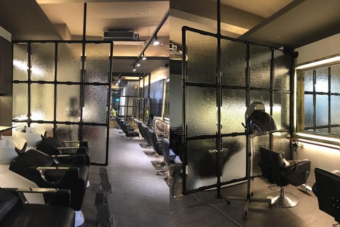 藝術造型玻璃隔間 工業風