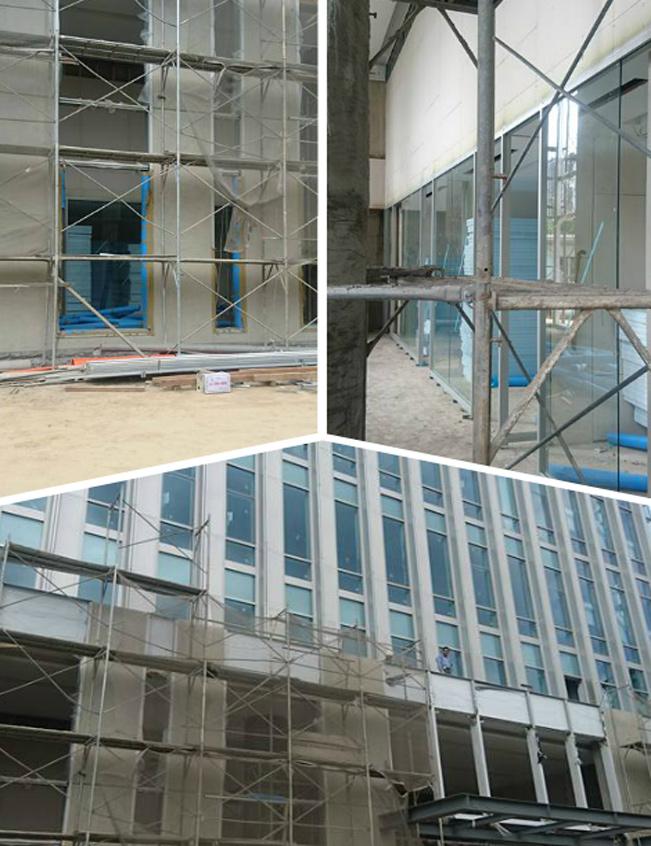 大樓帷幕玻璃、玻璃帷幕牆施工