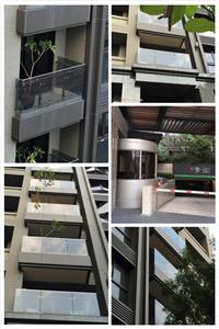 嘉祥建設 土城青沄 鋁板、鋁格柵、樑帶包板包柱、不銹鋼夾具玻璃欄杆