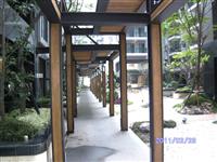 風雨走廊鋼架包南方松木