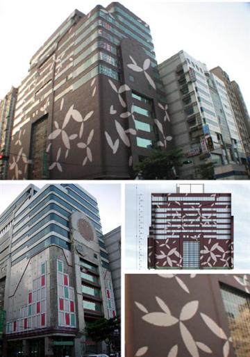台中漢口街合庫銀行-老舊大樓外觀, 外牆翻新仿石塗料工程