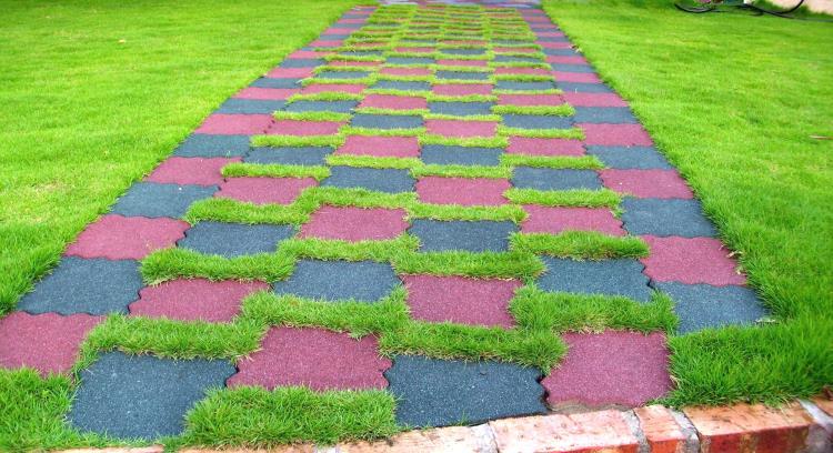 橡膠連鎖植草磚
