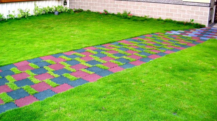 橡膠步道植草磚