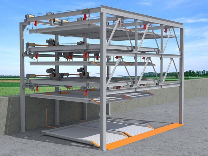 地面四層減速機鋼索式停車設備