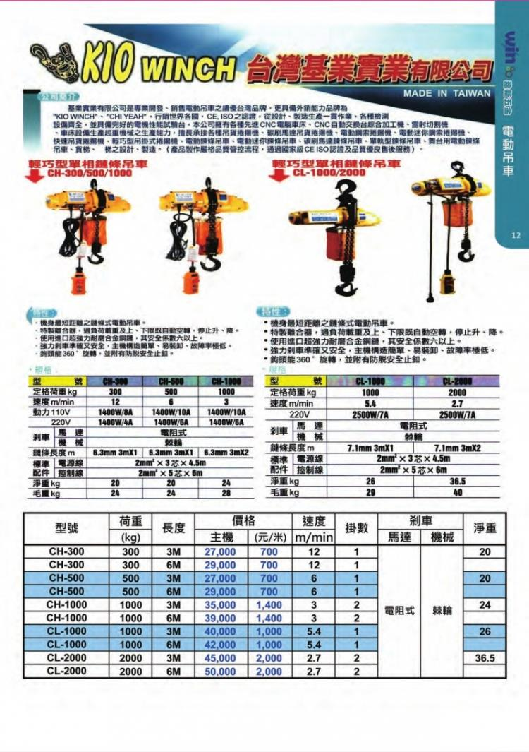 38-台灣KIO基業牌單相電動吊車02-25864168