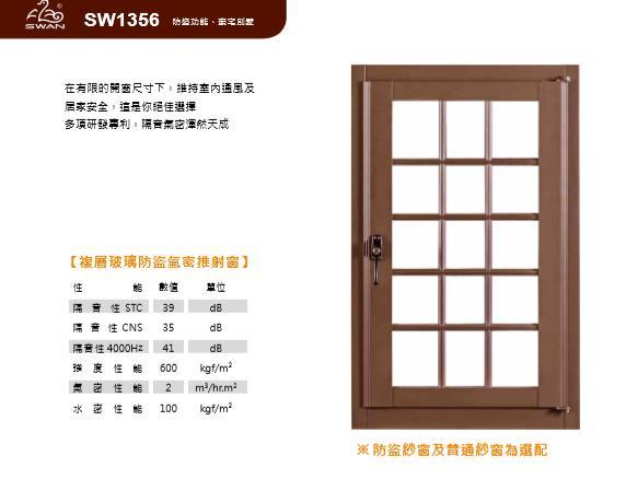 SW1356鵝牌防盜氣密推射窗/13公分系列