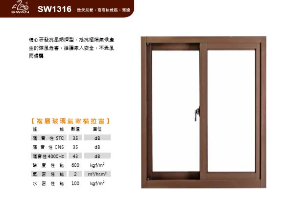 SW1316鵝牌氣密橫拉窗/13公分系列