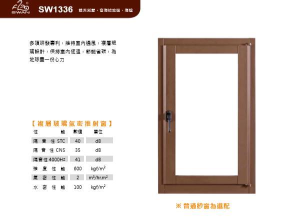 SW1336鵝牌複層玻璃氣密推射窗/13公分系列