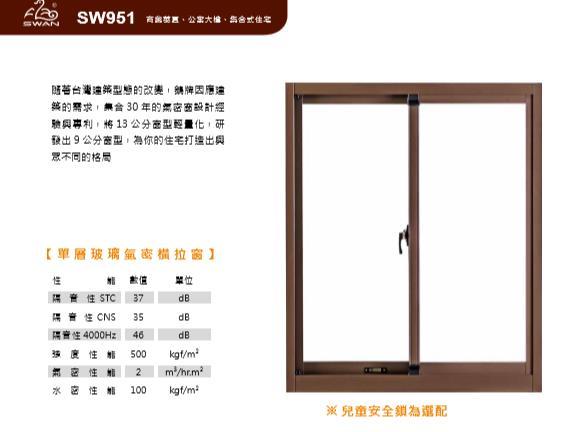 SW951鵝牌單層玻璃氣密橫拉窗/9公分系列