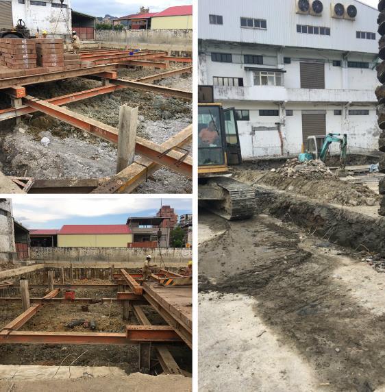 安全支撐型鋼架設、施工構台、覆工板施工