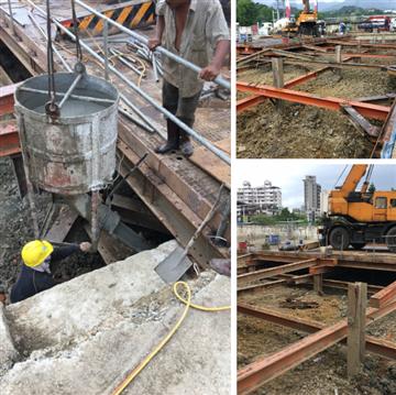 安全支撐型鋼架設、中間柱切除買斷、止水板施工或中間柱拔除止水封孔