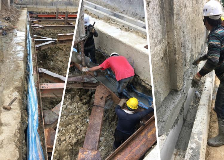 安全支撐型鋼架設、止水板施工或中間柱拔除止水封孔、施工構台