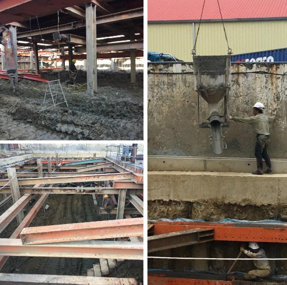 安全支撐型鋼架設、施工構台、覆工板施工、圍苓背填施工
