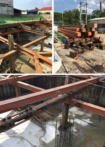 安全支撐型鋼架設、止水板施工或中間柱拔除止水封孔