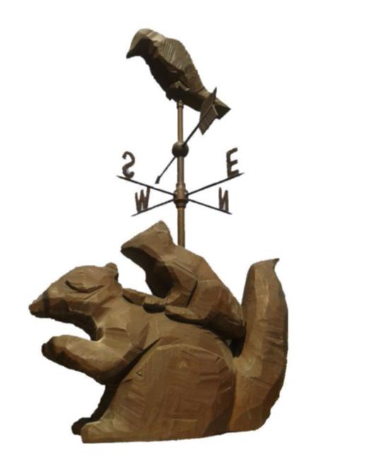 銅雕松鼠與鳥