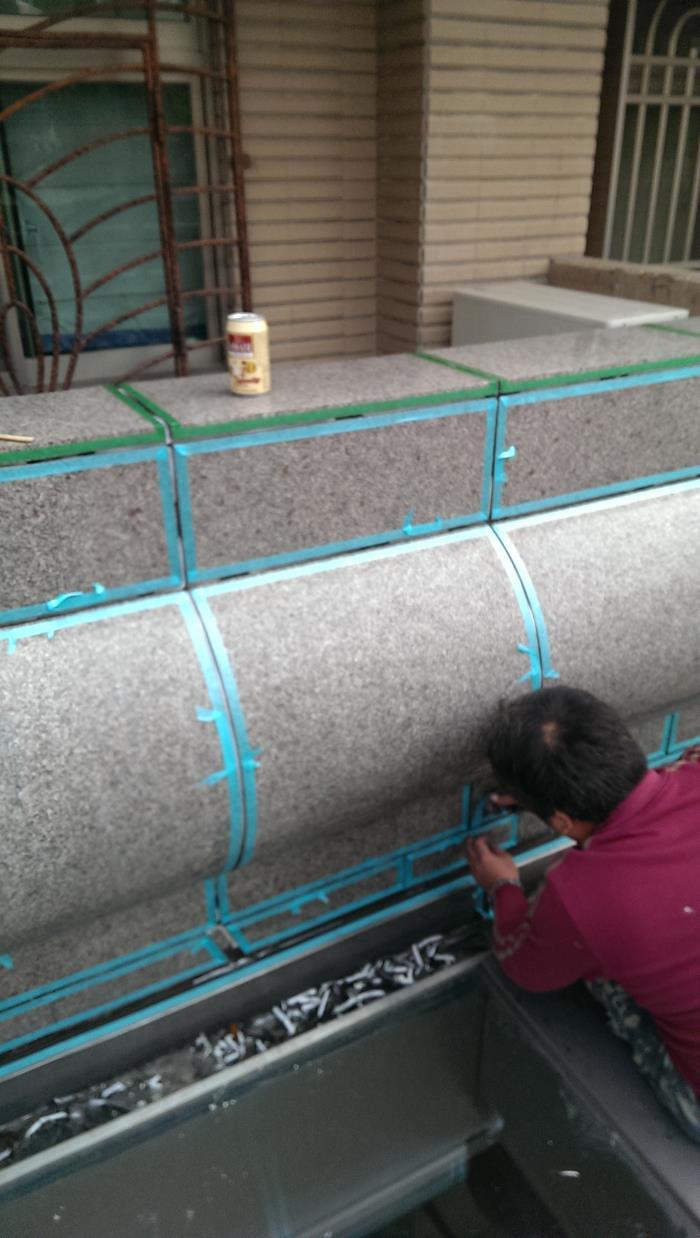 大理石矽膠填縫-施工中