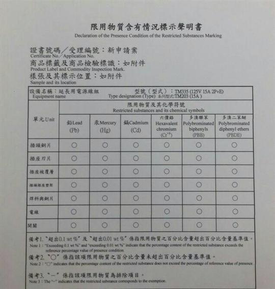 TM335限用物質含有情況標示聲明書