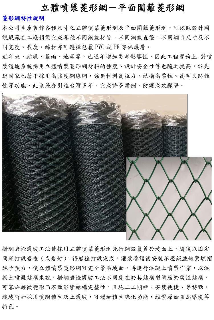 立體噴漿菱形網-平面圍籬菱形網