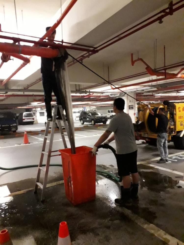 B1停車場污水吊管高壓清洗