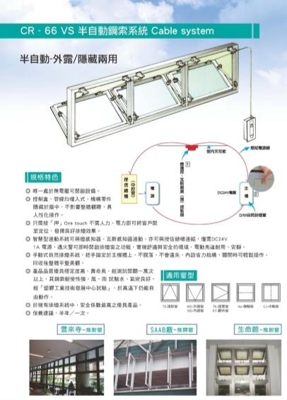 CR-66半自動鋼索排煙窗系統