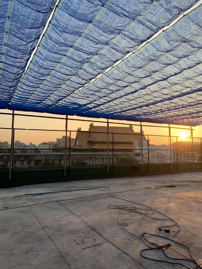 夕陽。中正記念堂。東門國小。遮陽網
