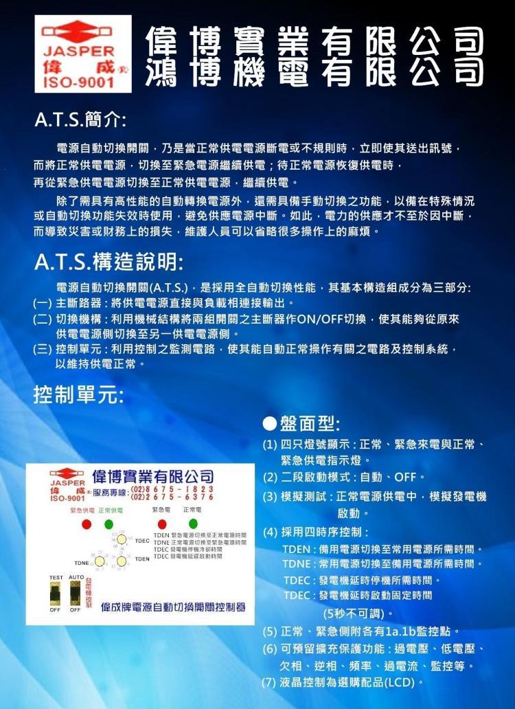 A.T.S.盤面式控制系統