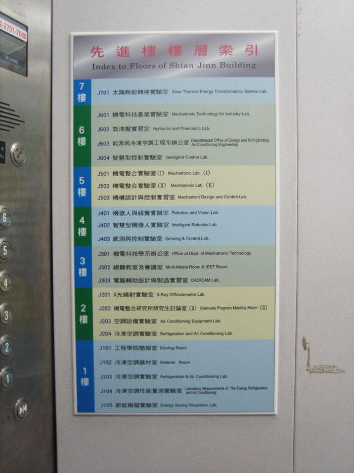 電梯內索引牌