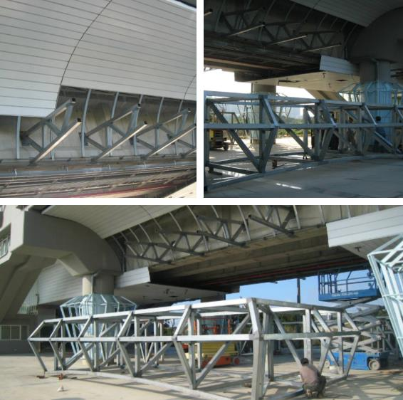 千甲車站-造型圓鋼管膜結構、鋼骨結構加工