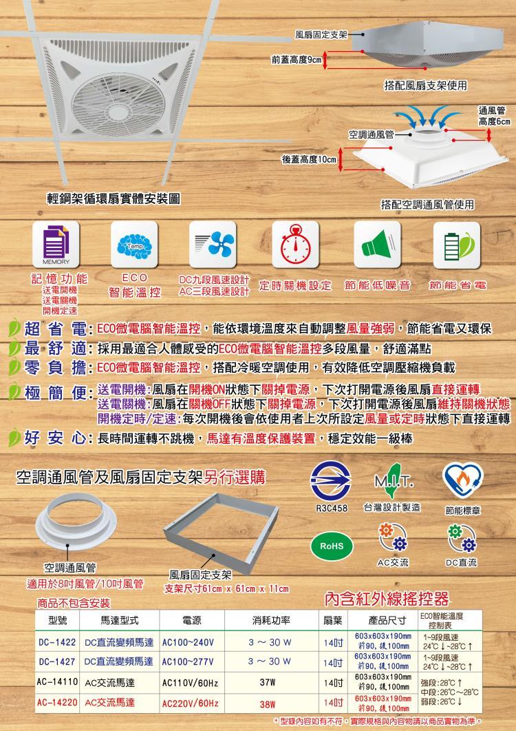 勁風輕鋼架循環扇、節能風扇、天花板型節能風扇03-312-6018