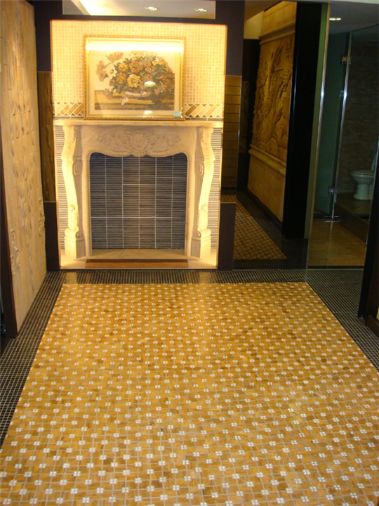 38-砂岩壁爐+玄武岩條狀馬賽克+黃金洞石馬賽克地板s