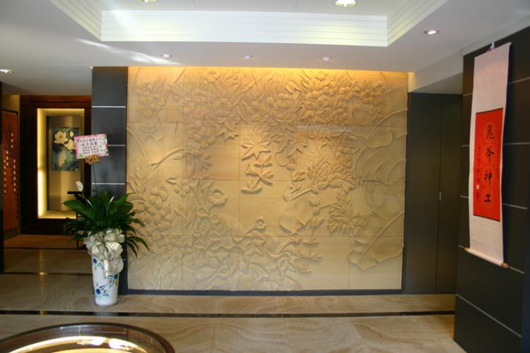 39-大廳背景牆-砂岩浮雕+澳洲砂岩地板s