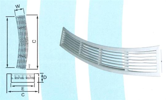 28- 下吹弧型線型風口 ZX-TLA