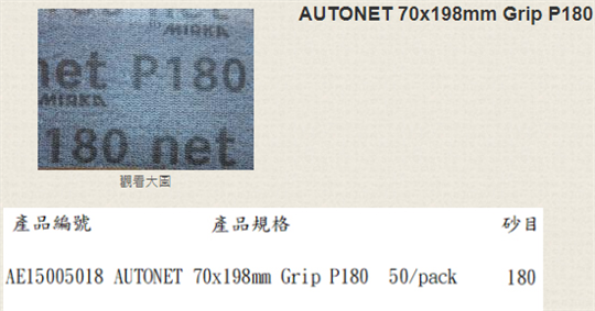 27- 玻纖網(方型)-AUTONET 70x198mm Grip P180