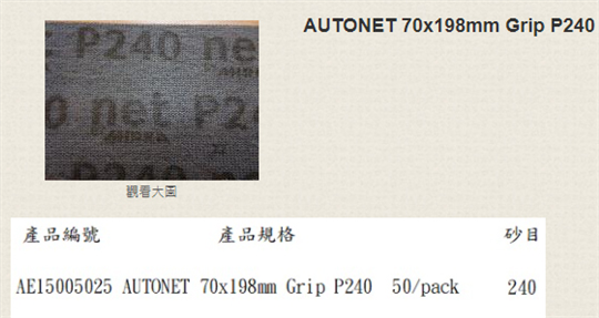 28-玻纖網(方型)-AUTONET 70x198mm Grip P240